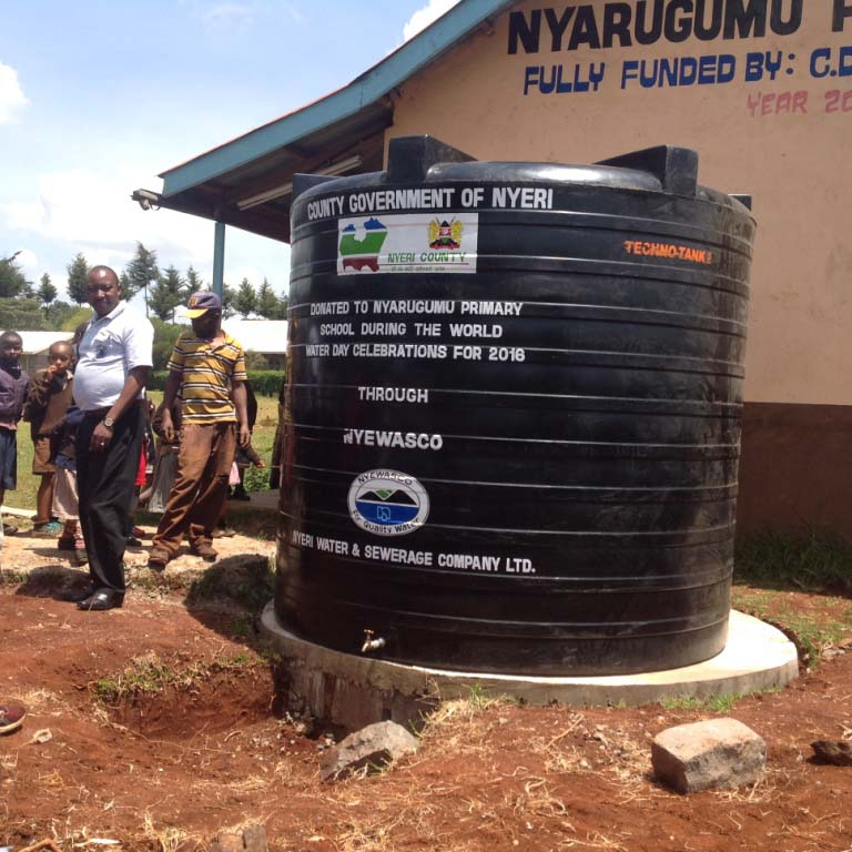 Water tank donated by Nyewasco to Nyarugumu Primary School