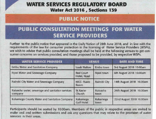 Water Service Providers (WSPs), Public consultation meetings dates and venues