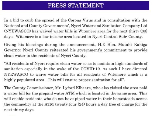 Provision of Free Water in Low Income Areas in Nyeri Town to Curb Possible Infections of COVID-19