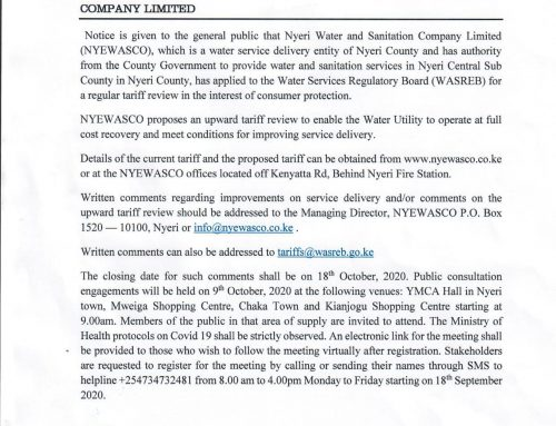 Notice for Public Consultation on NYEWASCO Tariff Review