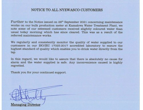 Notice to all NYEWASCO Customers