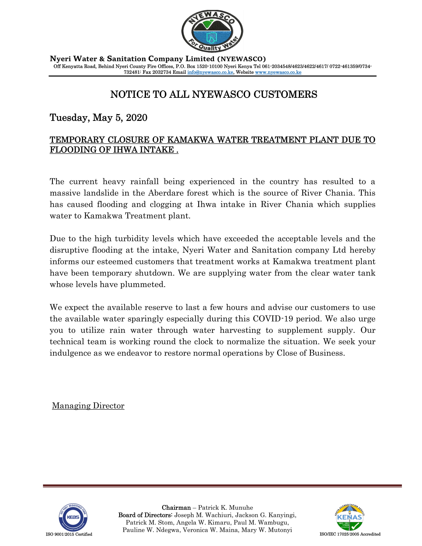 Notice of Temporary Closure of Kamakwa Treatment Plant